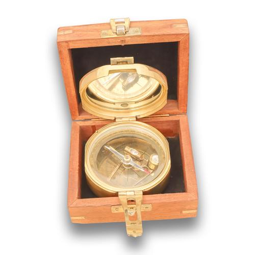 Nautical Brass Brunton Level Compass With Box