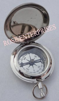 Silver Polished Nautical Push Button Lid Compass