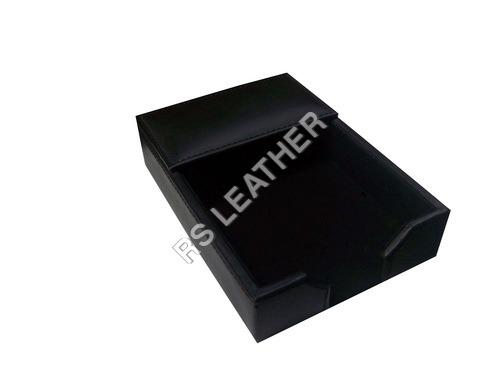 black bonded  leather 4x6 memo holder