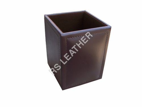 DARK BROWN LEATHER PENCIL CUP WITH SELF STITCH