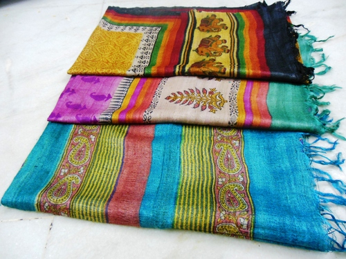 100% tussar silk with hand block printed