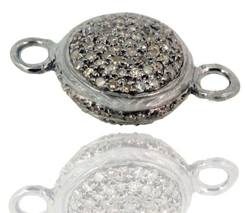 Pave Diamond Silver Connector Finding