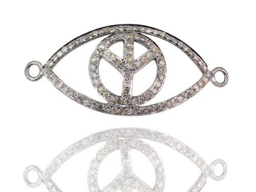 Silver Diamond Evil Eye Peace Connector Jewelry