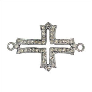 Sterling Silver Cross Pave Diamond Finding