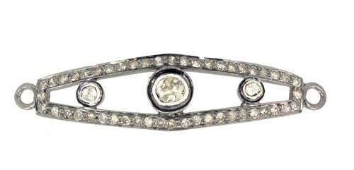Pave Diamond Link Bracelet Silver Finding