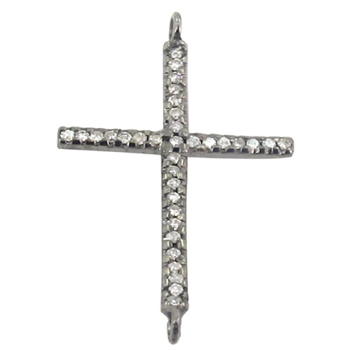 Holy Cross Diamond Pave Silver Pendant Jewelry