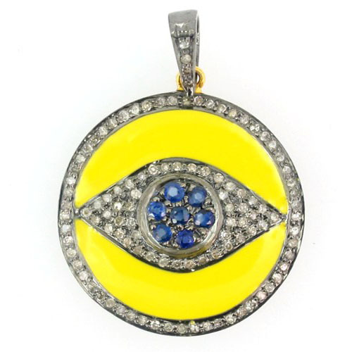 Evil Eye Enamel Silver Diamond Gemstone Pendant