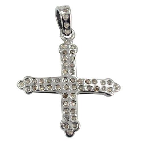 Natural Diamond Cross Charm Silver Pendant