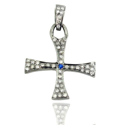 Sapphire Gemstone Pave Diamond Holly Cross Charm