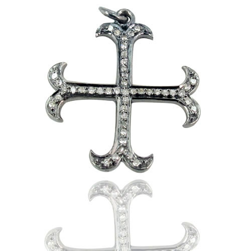 Holy Cross Diamond Sterling Silver Pendant