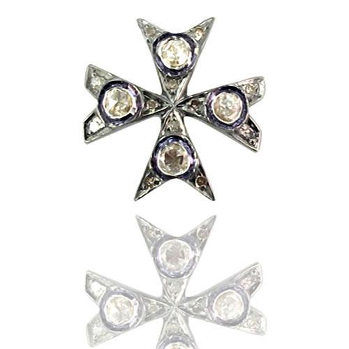 Natural Diamond Silver Charm Pendant
