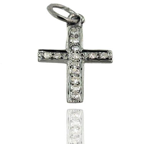 92.5 Sterling Silver Diamond Cross Charm Pendant