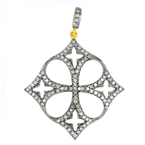 14k Gold Pave Diamond Pendant Jewelry