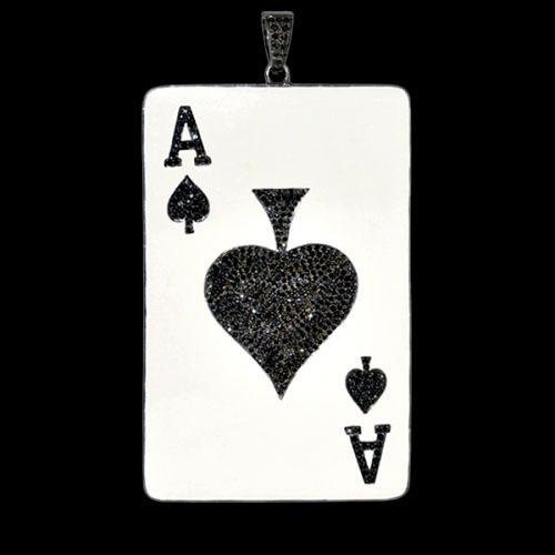Black Diamond Card Enamel Pendant Silver Jewelry
