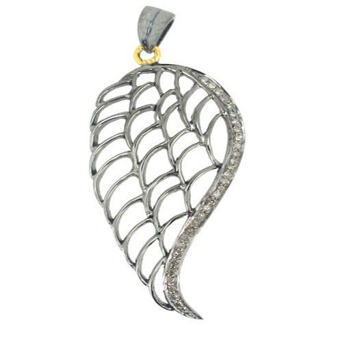 14k Gold Diamond Pave Angel Wings Pendant