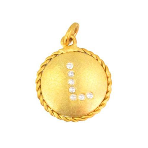 14k Yellow Gold Initial L Diamond Charms Jewelry