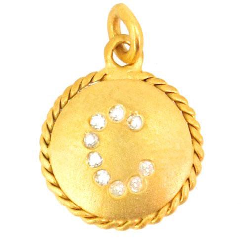 'C' Alphabet Letter Yellow Gold Diamond Pendant