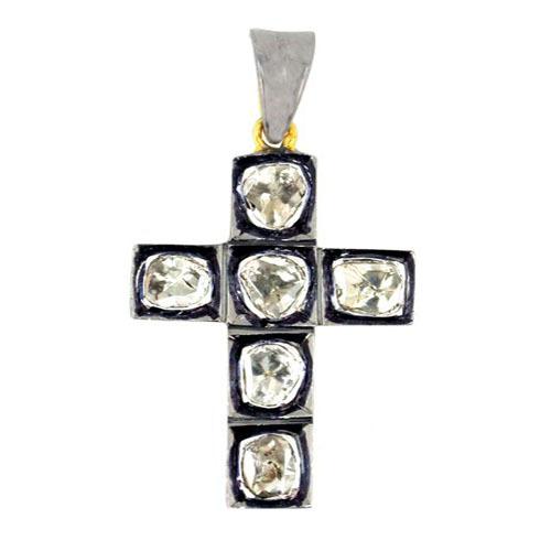 14k Gold Rose Cut Diamond Cross Pendant Jewelry