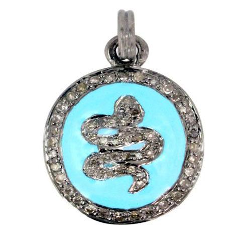 Snake Style Diamond Pave Pendant Jewelry
