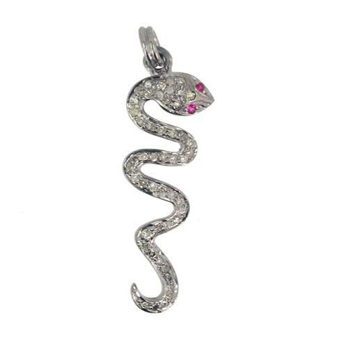 Snake Diamond Pave Silver Pendant