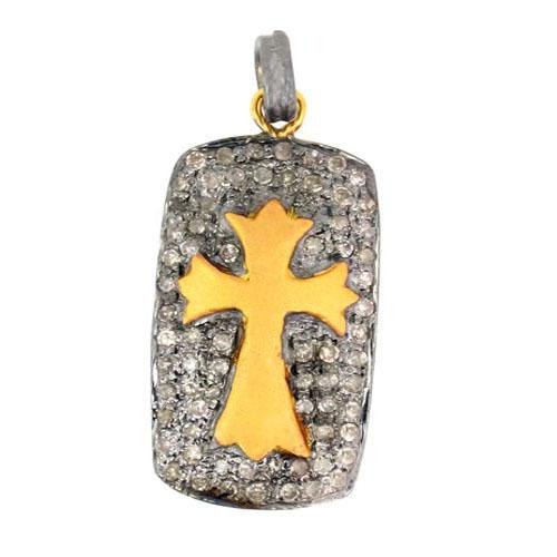 Cross Pave Diamond Gold Pendant