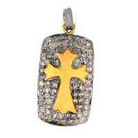 Cross Pave Diamond Gold Pendant