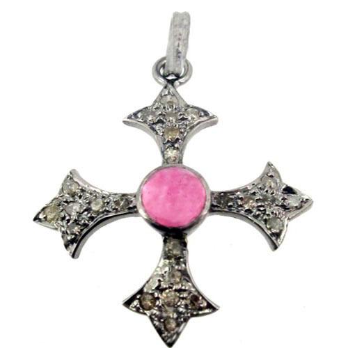 Tourmaline Gemstone Pave Diamond Cross Design Pendant Jewelry