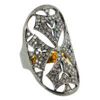 Pave Diamond Silver Gold Ring Jewelry