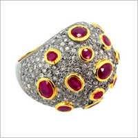 Pave Diamond Gemstone Ring