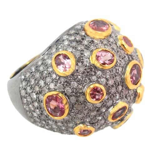 Pave Diamond Pink Tourmaline Ring