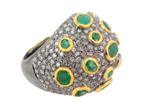 Pave Diamond Emerald Gemstone Ring