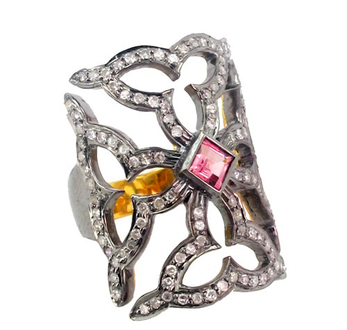 Pave Diamond Gemstone Gold Ring