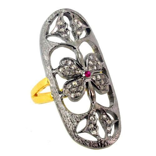 Pave Diamond Ruby Gold Ring