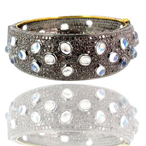 Gold Moonstone Silver Pave Diamond Bangle