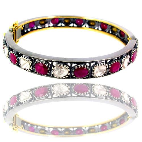 Pink Tourmaline Rose Cut Diamond Bangle