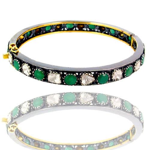 Polki Diamond Emerald Gold Bangle Jewelry