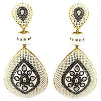 Rose Cut Diamond Pearl Dangle Earrings Jewelry