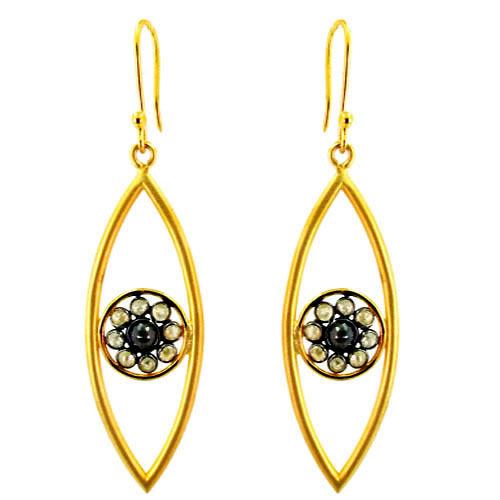 14k Gold Diamond Hook Earrings