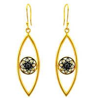 14k Gold Diamond Hook Earrings