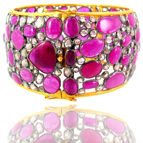 Pink Tourmaline Gemstone Gold Bangle
