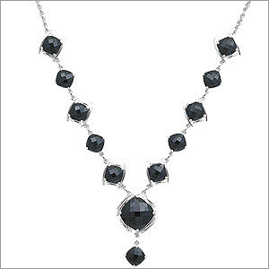 Black Onyx Sterling Silver Fashionable Necklace