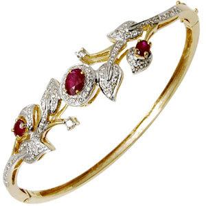 Leaf Style Ruby and Dimaond Studded Gold Bracelet