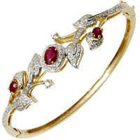Leaf Style Ruby and Dimaond Studded Gold Bracelet