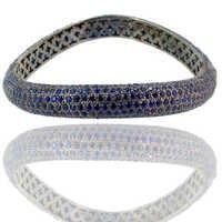 Silver Curve Blue Sapphire Gemstone Bangle
