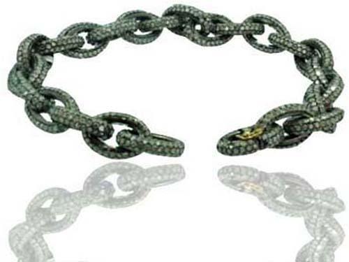 Pave Diamond Silver Link Bracelet