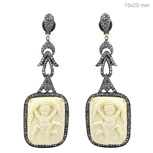 Silver Pave Diamond Gemstone Carving Earrings