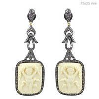 Silver Pave Diamond Gemstone Carving Earrings