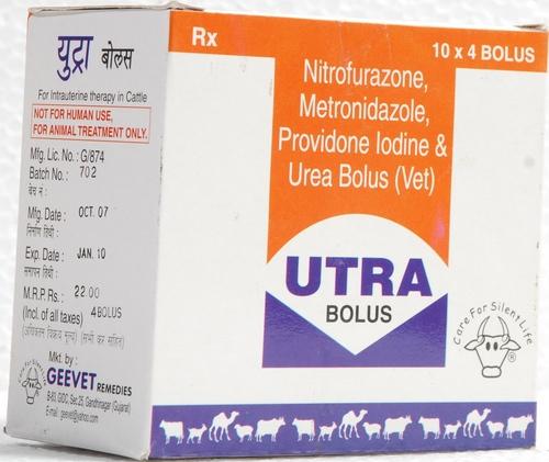 Nitrofurazone, Metronidazole, Povidone iodine & Urea bolus