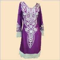 Rayon long neck kurti with lace