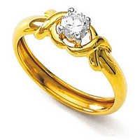 10K GOLD SOLITAIRE LOOK AMERICAN DIAMOND RING SOLR15